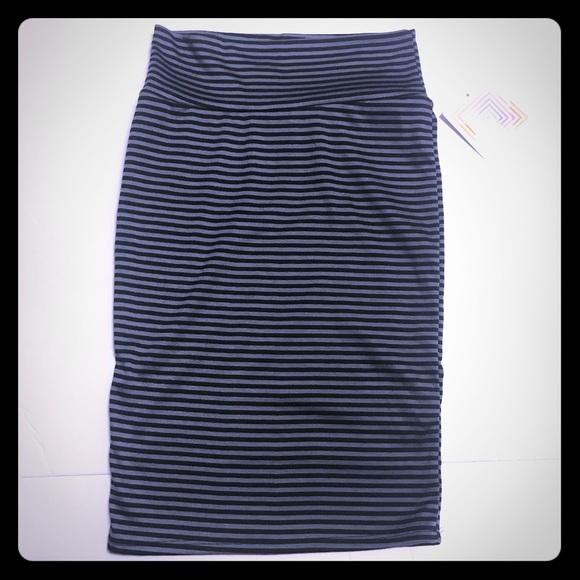 LulaRoe Black & Gray Striped Cassie Skirt [SK-64]